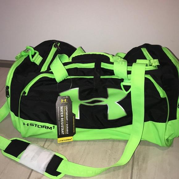 8a11df49837e NWT Lime Green + Black Under Armour Duffle Bag